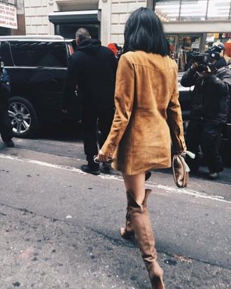 jacket boots kylie jenner beige jacket knee high boots beige