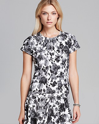 AQUA Top - Rose Print Short Sleeve | Bloomingdale's