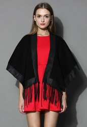 top,chicwish,black jockey cape,fringes,faux leather