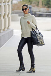 shoes,isabel marant,leopard print,knit,white,leather boots,ankle boots,sweater,sunglasses,celine bag