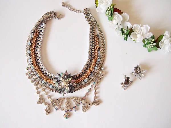 jewels statement necklace gold silver gem bib romantic chain jewelry
