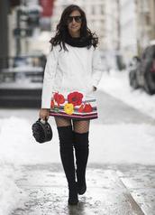 coat,nyfw 2017,fashion week 2017,fashion week,streetstyle,white coat,tights,net tights,fishnet tights,boots,black boots,over the knee boots,over the knee,thigh high boots,thigh highs,thigh-high boots,bag,black bag,round bag,ruffle,sunglasses