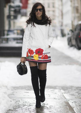 coat nyfw 2017 fashion week 2017 fashion week streetstyle white coat tights net tights fishnet tights boots black boots over the knee boots over the knee thigh high boots thigh highs thigh-high boots bag black bag round bag ruffle sunglasses