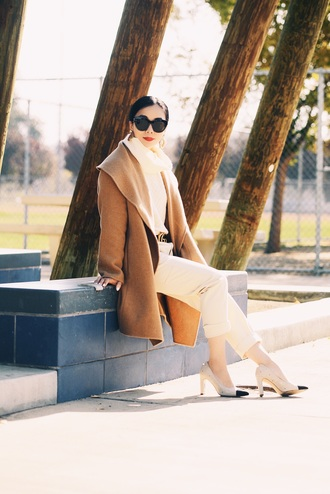 hallie daily blogger coat sweater belt pants sunglasses jewels camel coat winter outfits fall outfits gucci belt turtleneck sweater