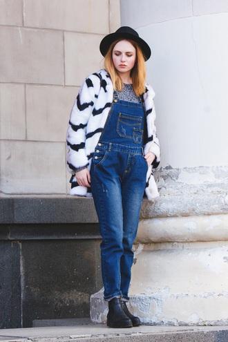 kristina magdalina blogger hat coat jumpsuit shoes