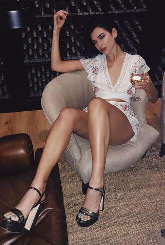 shorts top crop tops sandals platform sandals summer outfits summer top summer shorts dua lipa instagram