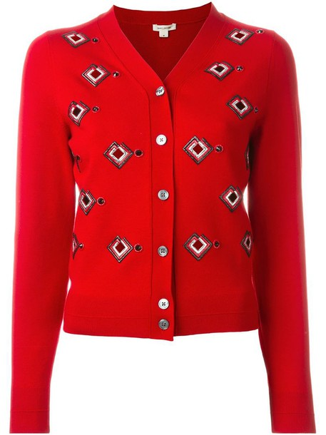Marc Jacobs cardigan cardigan women spandex embellished red sweater