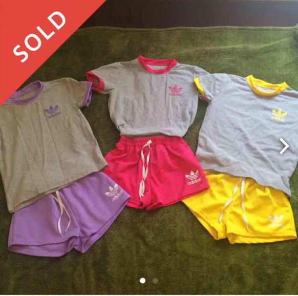 4049c33dc52 shirt adidas sportswear tracksuit adidas tracksuit sports shorts t-shirt  2-pieces shorts matching