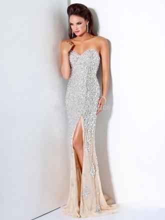 dress rhinestones dress beaded dress silver dress gown prom dress