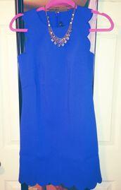 dress,royal blue,scalloped