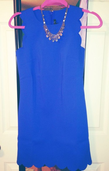 scalloped dress royal blue