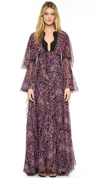 gown ruffle purple pink dress