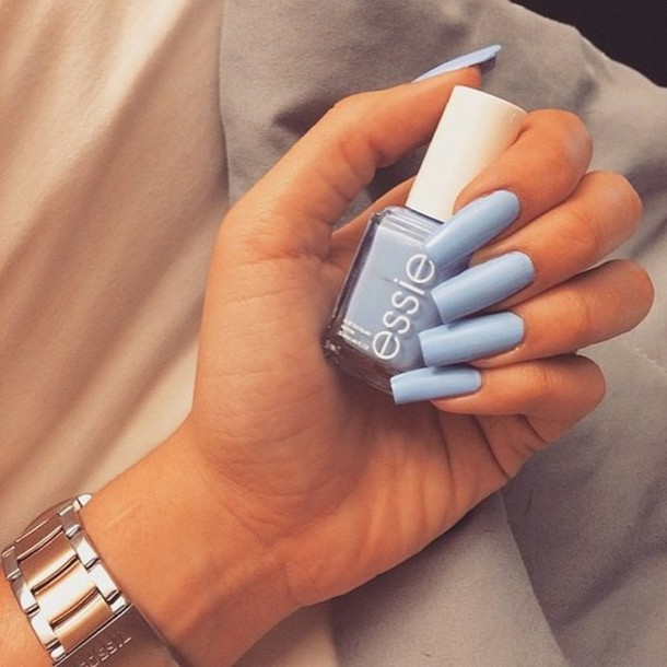 nail polish, blue, baby blue, essie, nail accessories, nails, light ...