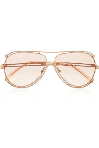 Chloe style sunglasses gold metallic blush