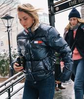jacket,nyfw 2017,fashion week 2017,fashion week,streetstyle,black jacket,tommy hilfiger,jeans,denim,blue jeans