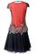 Orange mesh cap sleeve embroidery retro two pieces dress