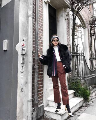 jacket tumblr black jacket fur jacket faux fur jacket pants brown pants shoes headband top white top turtleneck white turtleneck top