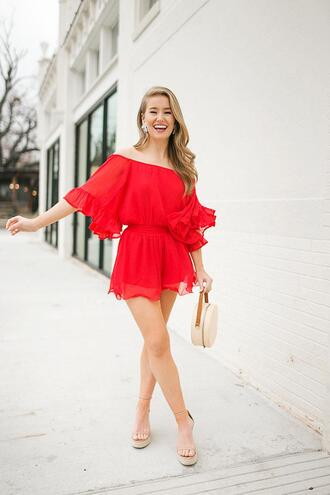 a lonestar state of southern blogger romper shorts shoes jewels bag red romper round bag sandals spring outfits