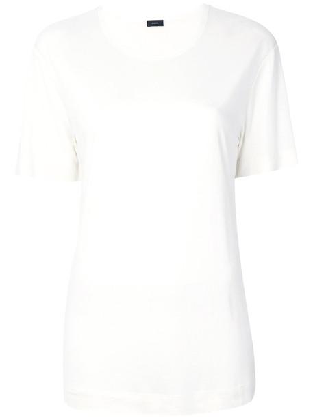 Joseph - crew neck T-shirt - women - Silk - XS, Nude/Neutrals, Silk