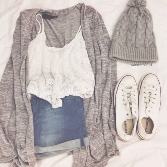 white tank top white tank grey sweater blouse denim converse white converse gray sweater lace tank lace white lace lace shirt crop tops jeans shirt shorts hat shoes jacket tank top cardigan style fashion