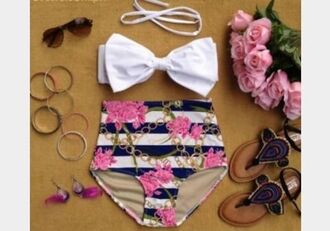 swimwear high waisted floral bows stripes high waisted bikini bikini cute summer outfits