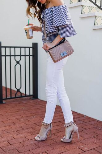 top tumblr gingham off the shoulder off the shoulder top bag chanel denim jeans white jeans skinny jeans sandals sandal heels high heel sandals shoes