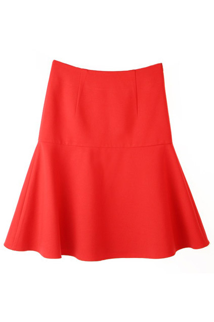 High-waisted Red Flared Skirt, The Latest Street Fashion