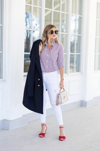 suburban faux-pas blogger jacket shirt jeans shoes bag jewels striped shirt louis vuitton bag navy coat sandals high heel sandals