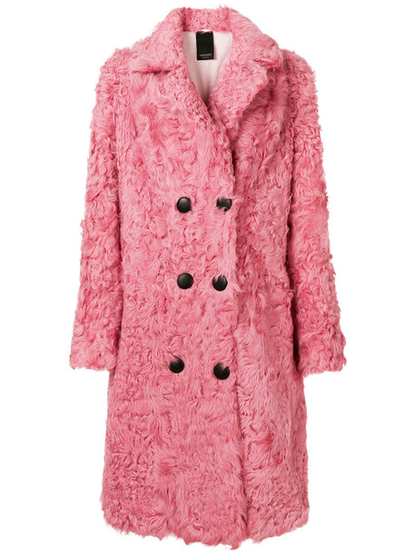 Numerootto coat double breasted women silk purple pink