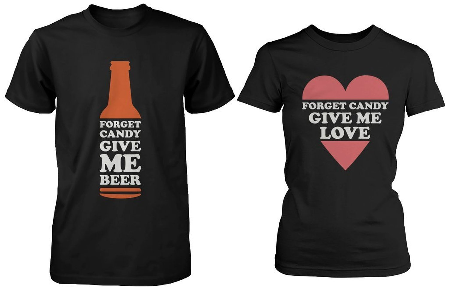 Amazon.com: Funny Halloween Couple Shirts Forget Candy Give Me Beer and Love: Clothing