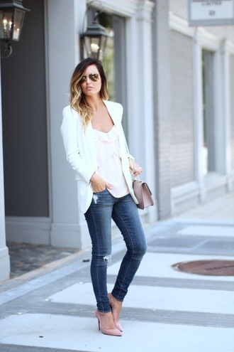 for all things lovely blogger jacket top jeans bag shoes make-up blazer white blazer white top ripped jeans pink heels