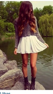 skirt,white,girly,girly outfits tumblr,hipster,fashion,style,flowy,fall outfits,iphone case,girl,iphone,phone cover,aztec,cowboy boots,sweater,shoes,macys,skater skirt,grey,boots