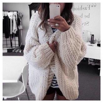 sweater fluffy warm cream cardigan