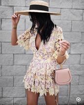 romper,hat,tumblr,lace romper,bag,pink bag,handbag,v neck,sun hat