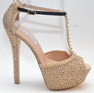 """Steve Madden """"Angelz"""" Gold Studded Platform Heel Sandals Women ..."""