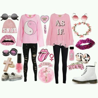 sweater pink grunge ying yang sweater black