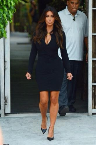 dress little black dress gold black kardashians kim kardashian long sleeve dress classy kim kardashian dress