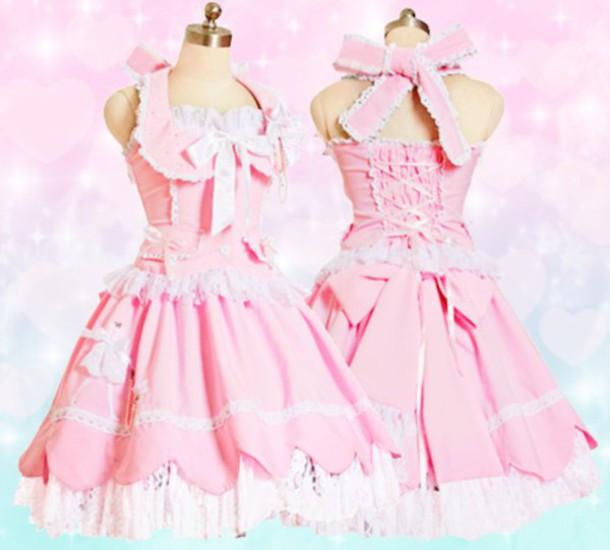 Dress: pink, cute, frilly, lolita, kawaii, desu - Wheretoget