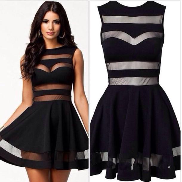 Cute sexy a word skirt transparent sleeveless show thin waist dress