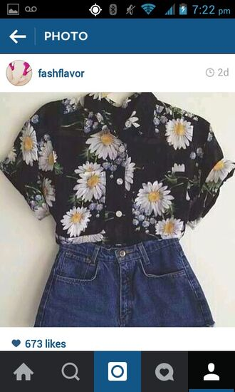 shirt t-shirt top vintage cute button up blouse button up shirt button down shirt floral flowers shorts summer spring pretty beautiful vintage shirt vintage button up vintage top vintage blouse black sunflower shirt yellow