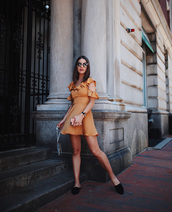 dress,tumblr,mustard dress,mustard,shoes,mules,bag,sunglasses,mini dress,ruffle,ruffle dress