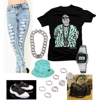 jeans clothes girl dope outfit shirt air jordan bag ring silver watch bucket hat hat thug life cute pretty hot topic jewels t-shirt biggie smalls black t-shirt blouse