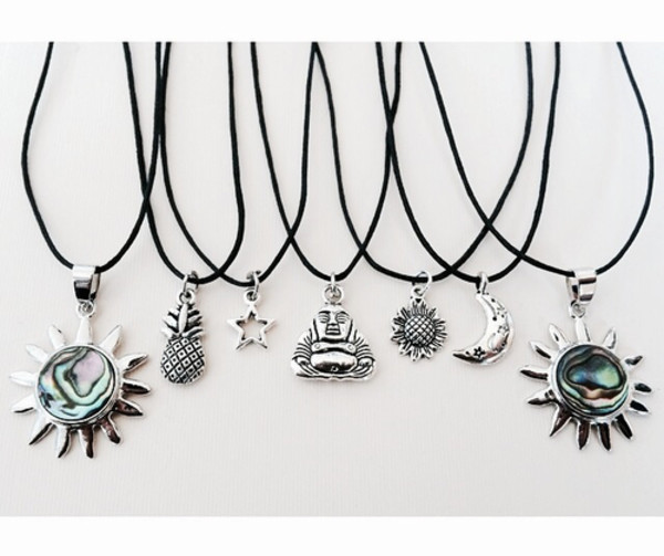 jewels necklace bouda pinapple moon stars
