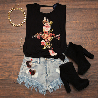top floral cross top summer top black tank top platform shoes platform boots high waisted shorts shoes shorts blouse flowers rock cross