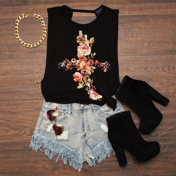 cross rock top floral shoes floral cross top summer top black tank top platform shoes platform boots High waisted shorts shorts blouse