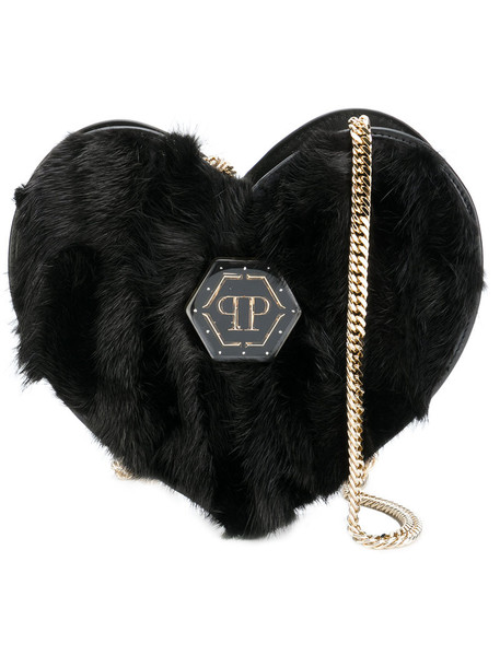 PHILIPP PLEIN heart fur women bag shoulder bag leather black