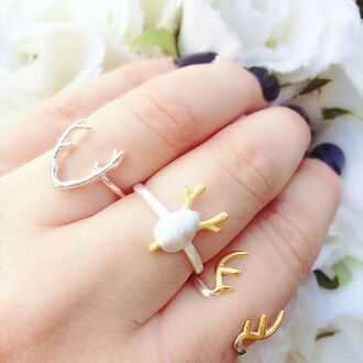 jewels cherry diva antler antler ring gold ring gold ring knuckle ring fashion jewellery novelty jewllery