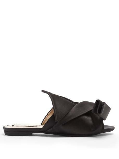 bow satin black shoes