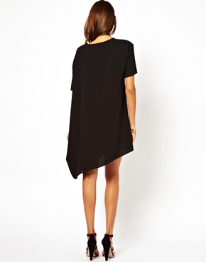 ASOS | ASOS Shift Dress With Asymmetric Hem at ASOS