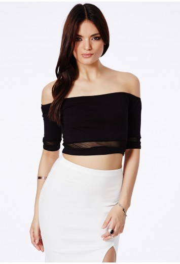 Theresia Bardot Crop Top With Mesh Detail - Tops - Crop Tops & Bralets - Missguided